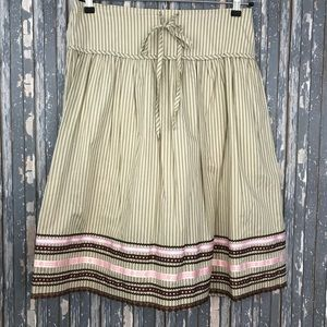 Garnet Hill A Line SZ 10 Striped Tan Pink Skirt